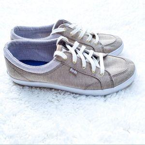 Keds Center Chambray Stripe Tan Memory Foam Shoes